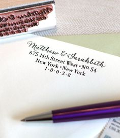 Custom return address stamp SIMPLE SCRIPT with wood by chattypress