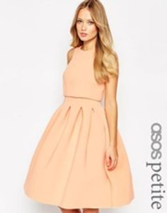 ASOS PETITE Debutante Crop Top Midi Scuba Dress - Pink #mididress #women #covetme