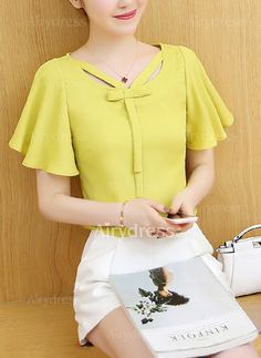 Women's Casual/Daily Simple Spring Fall Blouse,Solid V Neck Short Sleeve Polyester Sheer Work Tops, Couture, Blouse Dress, Modest Outfits, Cute Tops, Short Skirts, Blouse Designs, Designer Dresses, Marie