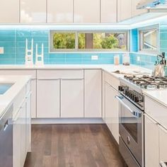 Thank you @influxseattle for making our Lush glass subway tile Sky blue look so great! #shoppingonline #subwaytile #glasstile #blue #backsplash #kitchen #design #interiordesign #kitchen #seattle #modwalls #liveyourcolors #skyblue