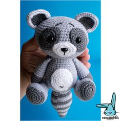 Baby raccoon amigurumi crochet pattern. PDF file. by BlueRabbitLV