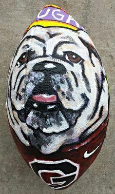 Georgia Bulldogs, UGA mascot, Georgia logo, Sanford Stadium hand painted football by Nicole Hubert