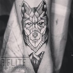 #geometric #wolf #landscape #tattoo by Shane Adkins Elite Ink Tattoos of Myrtle Beach, SC