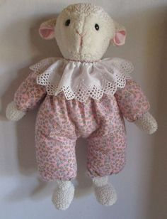 Eden Pink Floppy Lamb Replica Plush Floral Sleeper Lace Collar Pink Satin Ears #Handmade