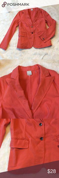 ecru coral denim blazer - 2 button front Super stretchy and comfy denim blazer. Dark coral color. Faux front pockets. ecru Jackets & Coats Jean Jackets