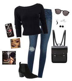 """""""Casual Night Out"""" by hanakdudley ❤ liked on Polyvore featuring Mode, Frame Denim, Donna Karan, River Island, The Cambridge Satchel Company, Yves Saint Laurent, Carolina Glamour Collection, Karen Kane und Paul Mitchell"""