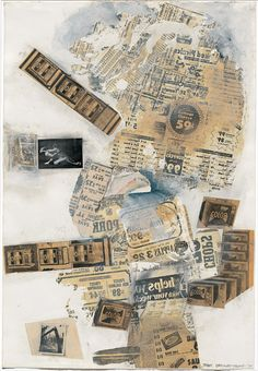 Robert Rauschenberg, Treat (Syn-Tex Series), 1970, solvent transfer, newspaper, postcard, and gouache on paper, 101.6 x 69.9 cm (40 x 27 1/2 in.), Collection of Robert and Jane Meyerhoff