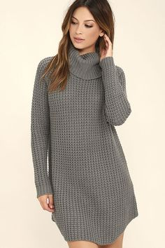 """You'll be in """"eleventh"""" heaven when you slip into the Element Eden Eleventh Grey Sweater Dress! Chunky knit constructs this cozy sweater dress with a cowl neck atop an oversized, straight-cut bodice with a rounded bottom hem. Long sleeves have ribbed cuffs. Leather logo tag at back."""