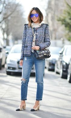 Tweed blazer and jeans Chanel Tweed Jacket, Chanel Style Jacket, Boucle Jacket, Chanel Street Style, Tweed Coat, Chanel Outfit, Casual Outfits, Fashion Outfits, J Crew Outfits