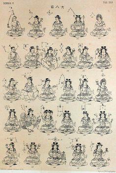 28 Celestial Maidens (and Deities) from Philipp Franz von Siebold's NIPPON Archiv zur Beschreibung von Japan.