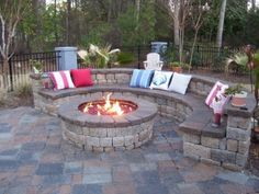 Rock wall seating area for patio