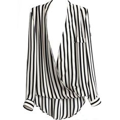 Deep V Striped Blouse ($54) ❤ liked on Polyvore featuring tops, blouses, shirts, blusas, stripe top, black top, stripe blouse, black stripe top and black striped shirt