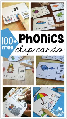 100 Free Phonics Clip Cards - This Reading Mama Phonics Reading, Teaching Phonics, Kindergarten Literacy, Reading Activities, Literacy Activities, Teaching Reading, Free Phonics Games, Teaching Resources, Phonics For Kids
