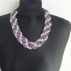 Crochet Necklace Purple and Silver Colors Sheen    by knittee