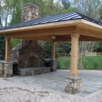 Detached covered patio with fireplace, but in our climate we'd need gutters!