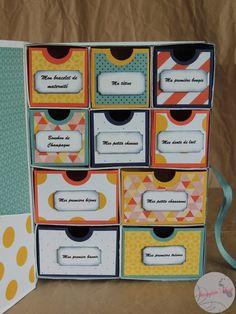 Boite de naissance (tuto) Faire Part Diy, Diy Souvenirs, Stampin Up, Explosion Box, Etiquette, Origami, Diy And Crafts, Baby Shower, Messages