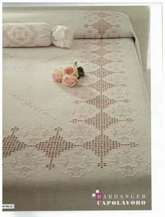 Hardanger                                                                                                                                                                                 More Hardanger Embroidery, Embroidery Stitches, Embroidery Patterns, Hand Embroidery, Types Of Embroidery, Learn Embroidery, White Embroidery, Bed Cover Design, Crochet Bedspread