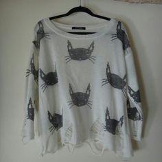 Ripped Cat Sweater Ripped knit sweater from romwe ROMWE Sweaters