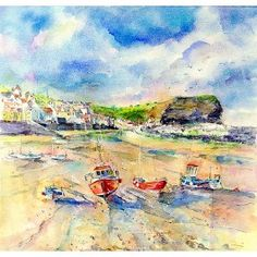 Staithes Seaside Village Greetings Card By Sheila Gill. | Greetings Cards | Prints | Gift Wrap