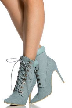 Denim Lace Up Pointed Toe Booties