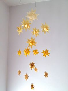 Baby Crib Mobile Hanging Origami Stars -'Milky Way' Ombre Yellow on Etsy, $68.00