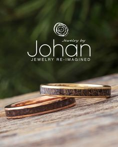 Dinosaur Bone lines the inlays of these gold wedding bands from #JewelrybyJohan. Dinosaur Bone Ring, Dinosaur Bones, Gold Wedding, Wedding Rings, Womens Wedding Bands, Rings For Men, Engagement Rings, Jewelry, Jewellery Making