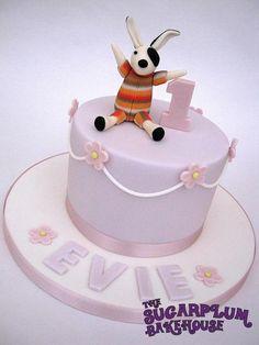 Pretty Pastel Birthday Cake  pretty, pastel, 6 inch, round, lilac, pink, white, drop, lines, blossom, flower, teddy, rabbit, topper, 1, 1st, birthday, girly, cute, cake