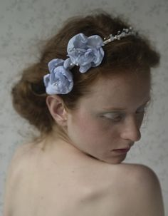 bridal headpiece  handmade  and dyed flowers, cristal rocks, beads  http://www.lucjazajac.com https://www.facebook.com/lucjazajacatelier