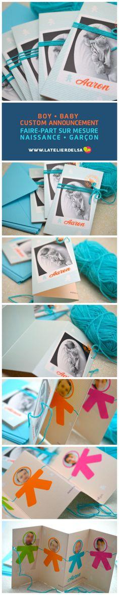 Faire-part NaissanceBébé Photo GarçonInvitation naissance 3 plis avec lien attaché avec de la laine bleuCréation sur mesure Naissance par L'Atelier d'Elsa