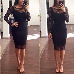 Black Lace dress Beautiful knee length long sleeve lace dress with black lining. This dress has some stretch to it and it's perfect for a night out or a formal event. I originally bought this dress at Bloomingdales and wore it one time, like new. B 44 Dresses