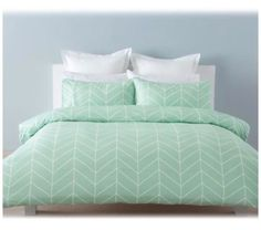 Robin-Mint-Green-Chevron-White-SINGLE-Bed-Doona-Quilt-Cover-And-Pillowcase-Set