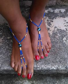Lapis and Gold barefoot sandals, Egyptian inspired design, barefoot sandal, bottomless sandals, afrocentric jewelry, boho jewelry
