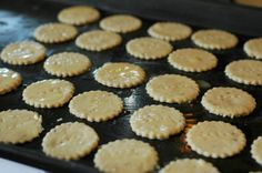 """whole wheat crackers~ 3 cups whole wheat flour 1 ¼ cups plain yogurt 1 ½ teaspoon sea salt 2 teaspoons baking powder 8 tablespoons of melted butter, divided 1 teaspoon dried rosemary.~Combine the flour and yogurt. Let the flour mixture sit on the counter for 12-24 hours. Combine 6T butter and rest, process til combined, may use hands. Roll on very floured surface 1/8"""". Bake on lightly butttered sheet. Brush remaining butter on crackers. Cookie cutter. 300 degrees 10-15 min."""