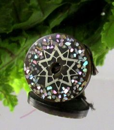 Victorian Composition Whistle Button w Colorful Glitter Star D84 | eBay