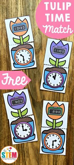 FREE Tulip Time Match! A fun way to work on teaching time this spring! A great math center for kindergarten and first grade kids! #TheSTEMLaboratory #teachingtime #freeprintables