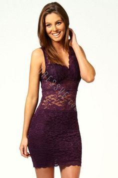 ALLOVER LACE STRAPPY PURPLE FITTED CUP BODYCON DRESS Buy  NOW  USD $ 27.51  59  %  OFF http://shrsl.com/?~bwws