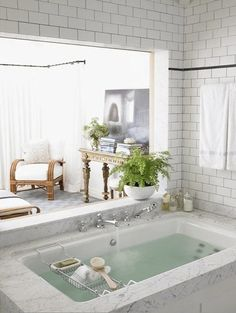 SPA BATHROOM: Opens to bedroom.  Change colors.  Add sliding glass doors to enclose and lock so shower can be used seperate from rest of bathroom.    Climb in thru bedroom window/opening and lock closed.  Frosted glass, solid covering and no covering  Trees in spa bedroom.  Space should feel like a sexy outdoor space that is in doors - rain shower/tub/steam closet.