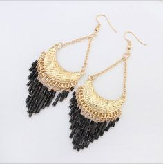 African Tribal Beaded Dangle Earrings