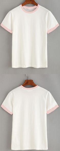 Contrast Trim Plain T-shirt - Pink