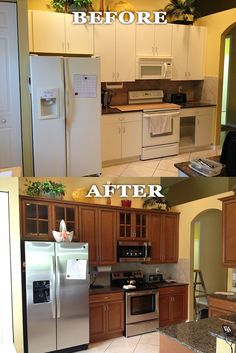 replacing kitchen cabinet doors before and after kitchen refacing project by dreammaker arbor showing 25482