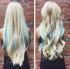long blonde hair with blue and lavender highlights