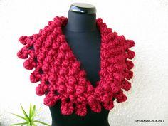 Chunky Cowl Scarf PDF, Crochet Pattern Super Chunky Cowl Red Scarf, Easy Crochet Pattern, Lyubava Design Crochet Pattern number 72, via Etsy.