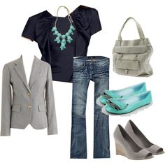 """""""aqua, navy & gray"""" by turquoise22 on Polyvore"""
