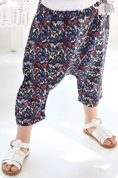 Birds Pattern Harem Pants for boys 2-7. Play approved kids fashion at Color Me WHIMSY.