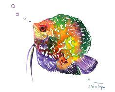 Rainbow Colored Discus Fish original watercolor painting 10 x 8 in, children room art, discus fish painting , aquarium design, bright colors by ORIGINALONLY on Etsy