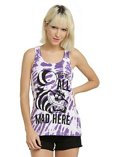 Disney Alice In Wonderland Cheshire Cat All Mad Tie Dye Girls Tank Top, PURPLE