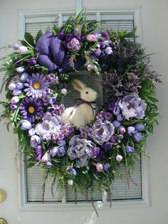Spring Summer Easter Decoration Large Sisal Straw Bunny Rabbit Purple Peonies Mini Tulips Burlap Bow Large Elegant Silk Floral Door Wreath