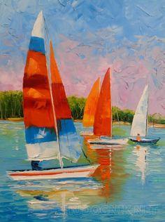 Парусники на реке Парусники на реке,картина маслом на холсте,постер,природа,,картина маслом в подарок,картина маслом для интерьера,лодки,река,регата