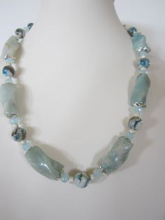 Amazonite Necklace with mosaic mother of pearl Beach by yasmi65, $32.00