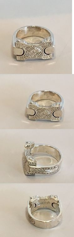 Men Jewelry: New Konstantino Mens Sterling Silver Etched Band Ring $310 Size 10 BUY IT NOW ONLY: $245.0